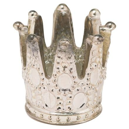 The Noel Collection Silver Crown Tealight Holder